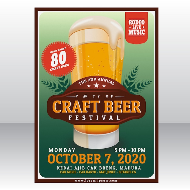 Modèle d'affiche de fête de la bière Vecteur Premium