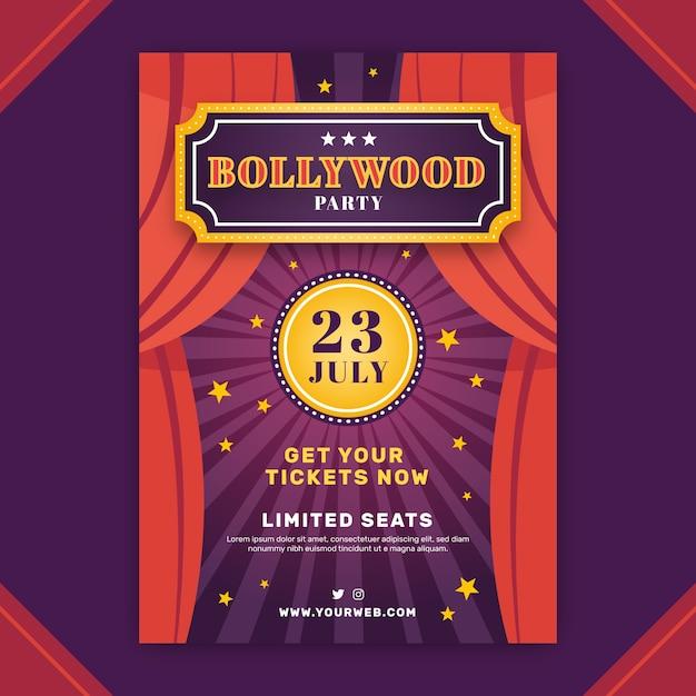 Modèle D'affiche De Fête De Bollywood Avec Rideau De Scène Vecteur gratuit