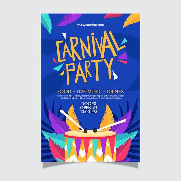 Modèle D'affiche De Fête De Carnaval Design Plat Vecteur gratuit