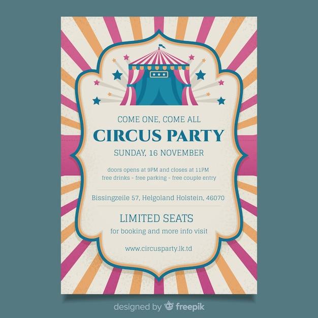 Modèle D'affiche De Fête De Cirque Vintage Vecteur gratuit