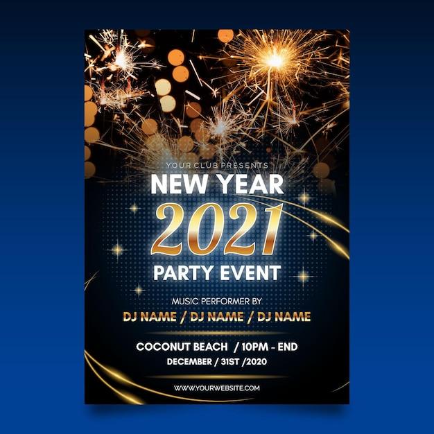 Modèle D'affiche De Fête Du Nouvel An Vecteur gratuit