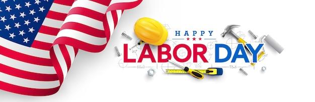 Modèle D'affiche De La Fête Du Travail Célébration De La Fête Du Travail Des états-unis Avec Le Drapeau Américain Vecteur Premium