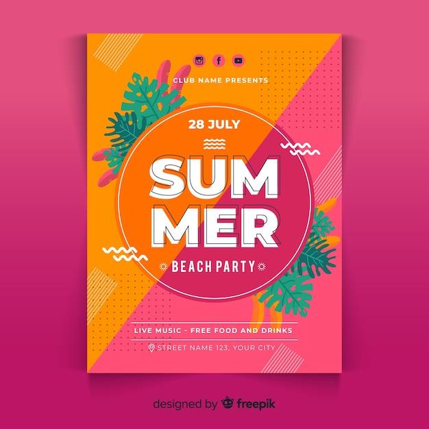 Modèle d'affiche fête estivale plat Vecteur gratuit