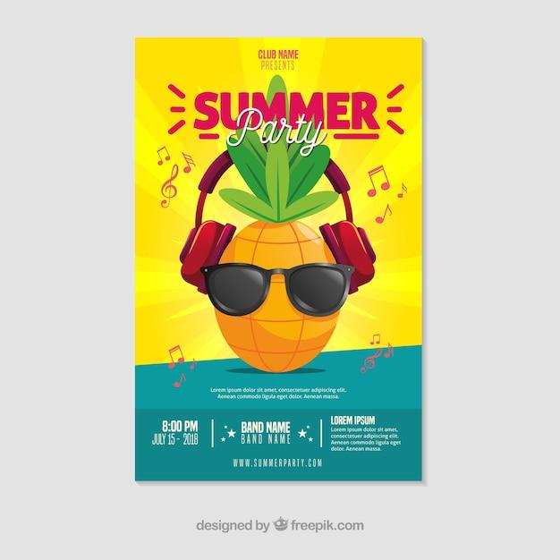 Modèle D'affiche De Fête D'été Avec Un Design Plat Vecteur gratuit