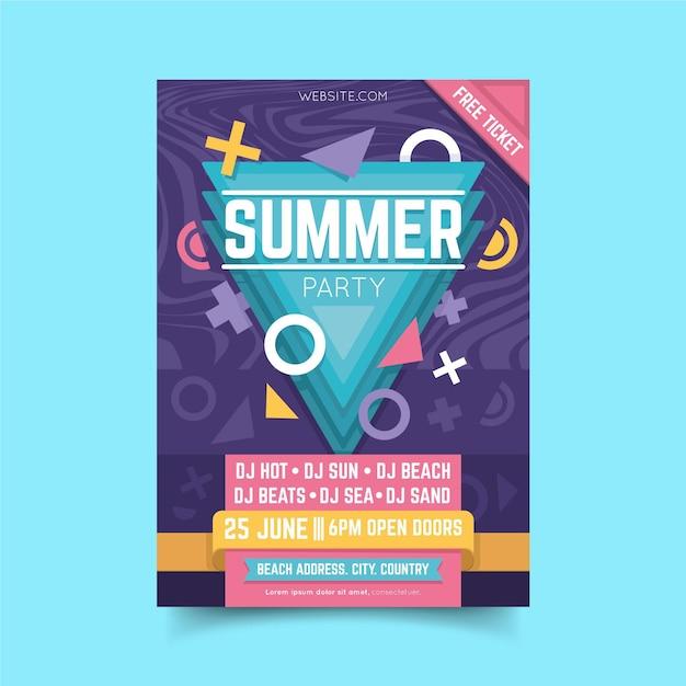 Modèle D'affiche De Fête D'été Design Plat Vecteur gratuit