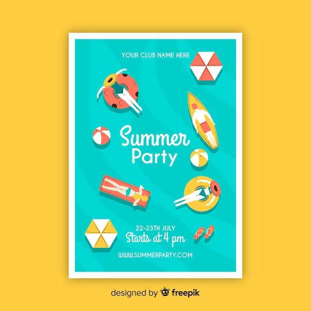 Modèle d'affiche fête été dessiné main Vecteur gratuit