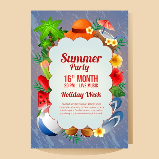 Modèle d'affiche fête été vacances avec illustration vectorielle d'objet coloré été saison Vecteur Premium