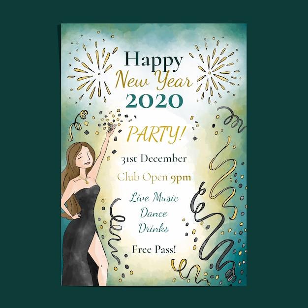 Modèle d'affiche fête fête aquarelle nouvel an 2020 Vecteur gratuit