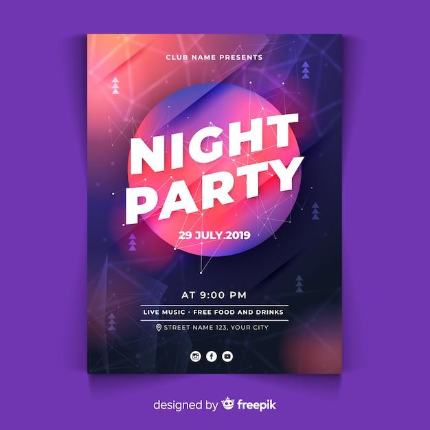 Modèle d'affiche de fête avec des formes abstraites Vecteur gratuit