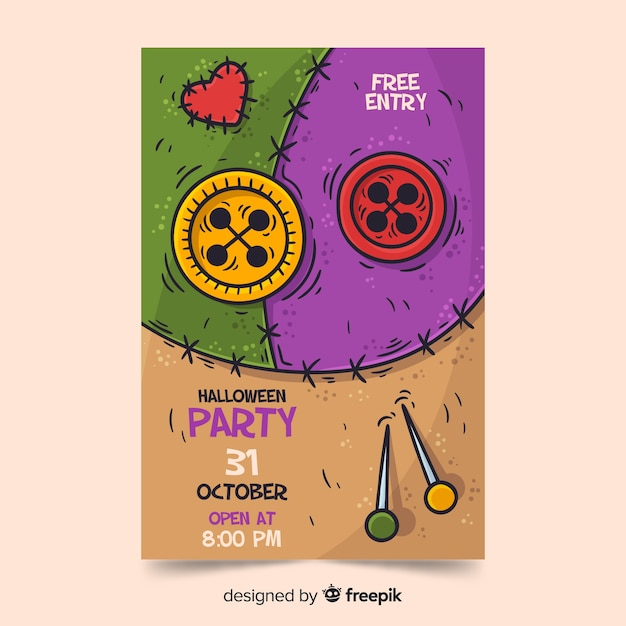 Modèle d'affiche fête halloween dessiné à la main Vecteur gratuit