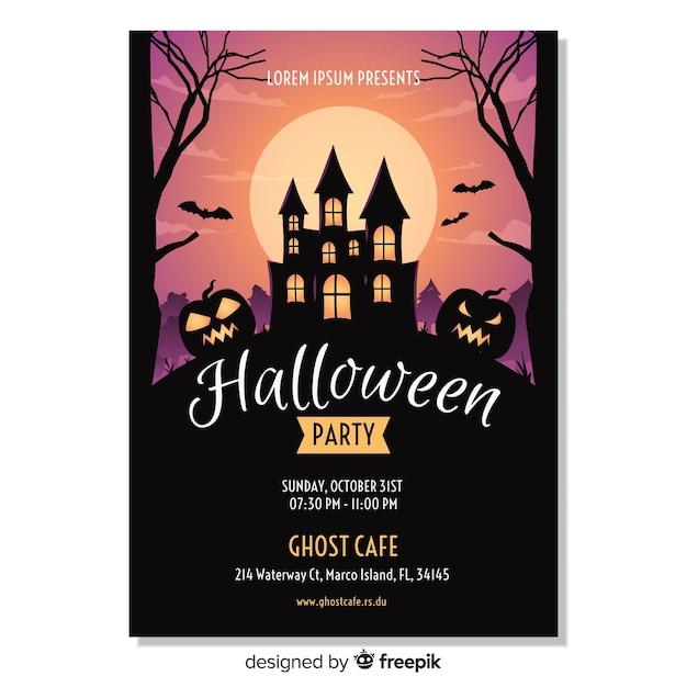 Modèle d'affiche fête halloween heureux Vecteur gratuit