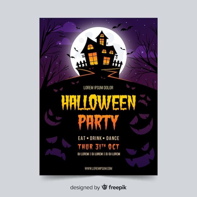 Modèle d'affiche fête halloween avec la maison hantée Vecteur gratuit
