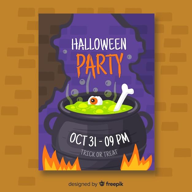 Modèle d'affiche de fête halloween melting pot Vecteur gratuit