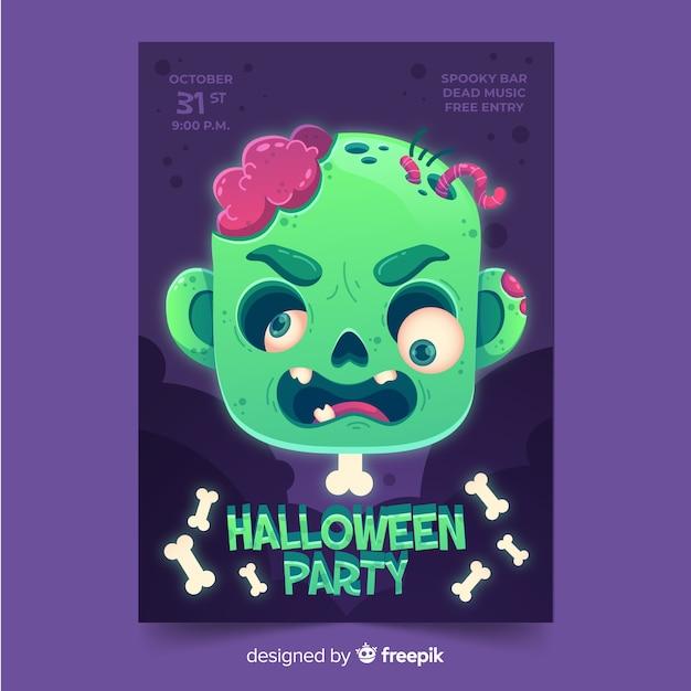 Modèle d'affiche fête halloween plat Vecteur gratuit