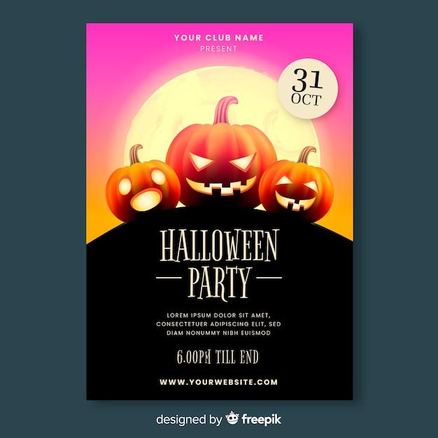 Modèle d'affiche de fête halloween réaliste Vecteur gratuit