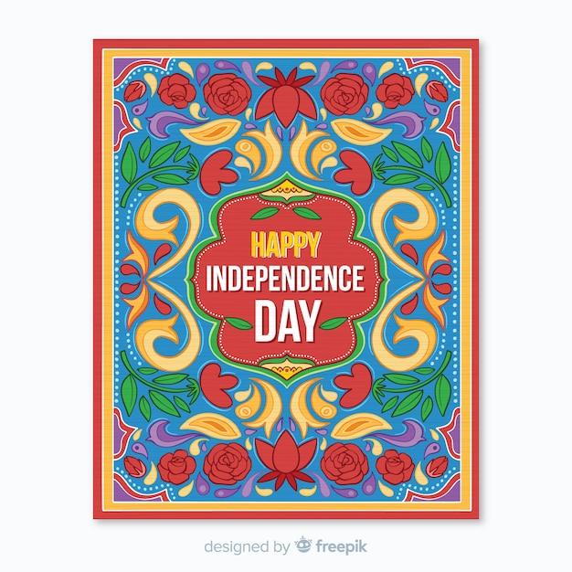 Modèle d'affiche de la fête de l'indépendance indienne Vecteur gratuit