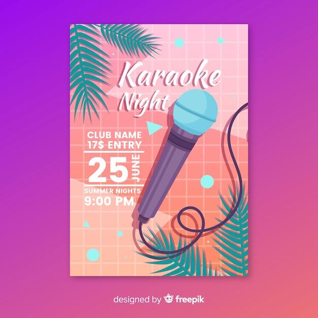 Modèle d'affiche fête karaoké à plat Vecteur gratuit