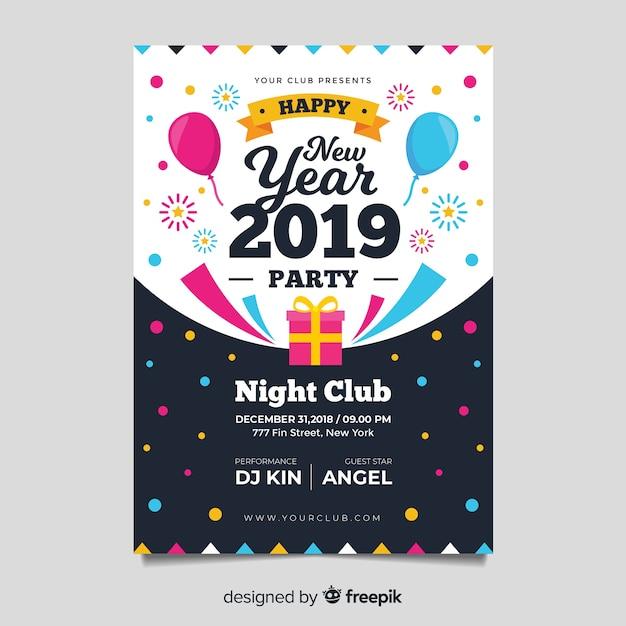 Modèle d'affiche fête moderne nouvel an avec design plat Vecteur gratuit