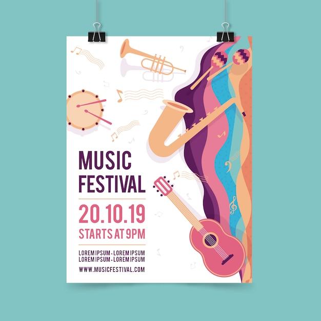 Modèle d'affiche fête musique avec instrument de musique Vecteur gratuit