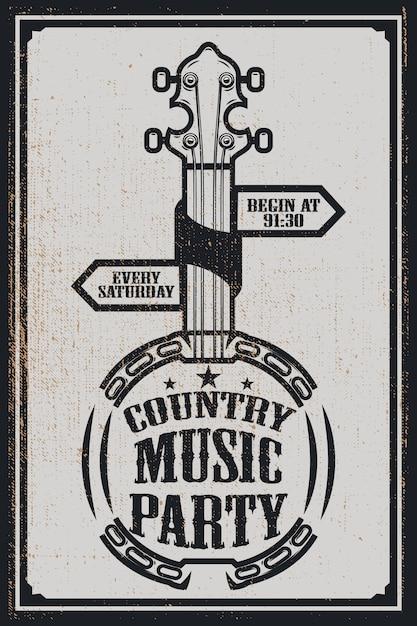 Modèle D'affiche De Fête De Musique ¡ounountry. Banjo Vintage Sur Fond Grunge. Illustration Vecteur Premium