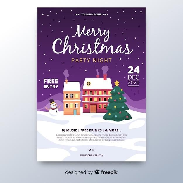 Modèle D'affiche Fête De Noël Au Design Plat Vecteur gratuit