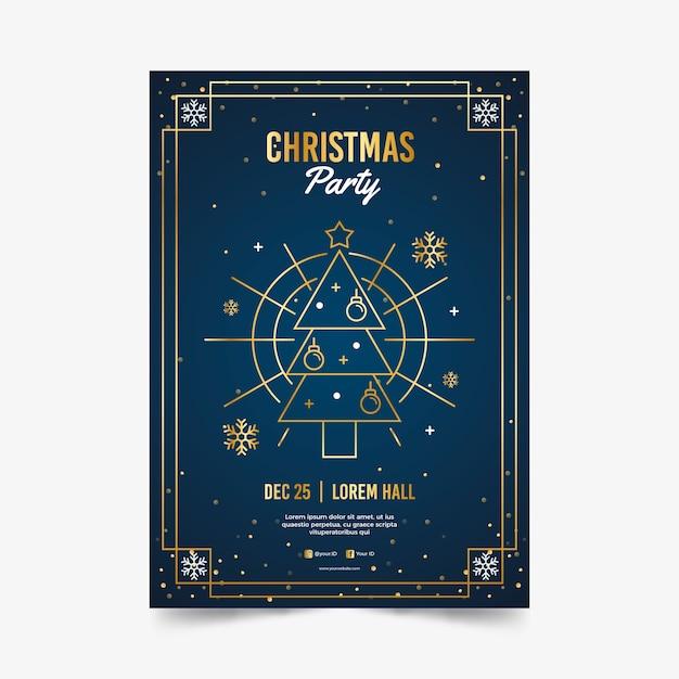 Modèle D'affiche Fête De Noël Dans Le Style De Contour Vecteur gratuit