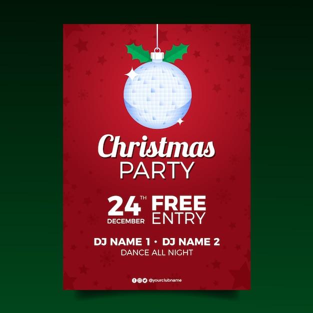 Modèle D'affiche De Fête De Noël Design Plat Vecteur gratuit