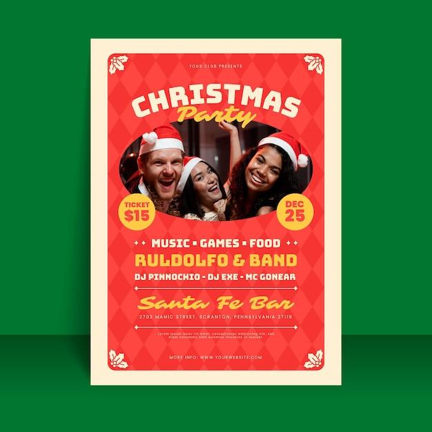 Modèle D'affiche De Fête De Noël Avec Photo Vecteur gratuit