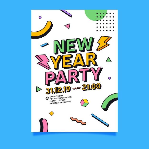 Modèle d'affiche fête nouvel an 2020 au design plat Vecteur gratuit