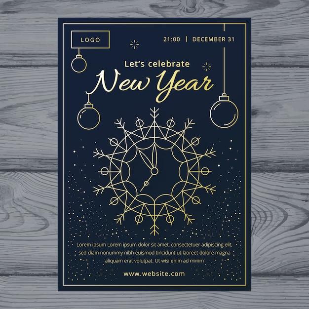 Modèle d'affiche fête nouvel an dans le style de contour Vecteur gratuit