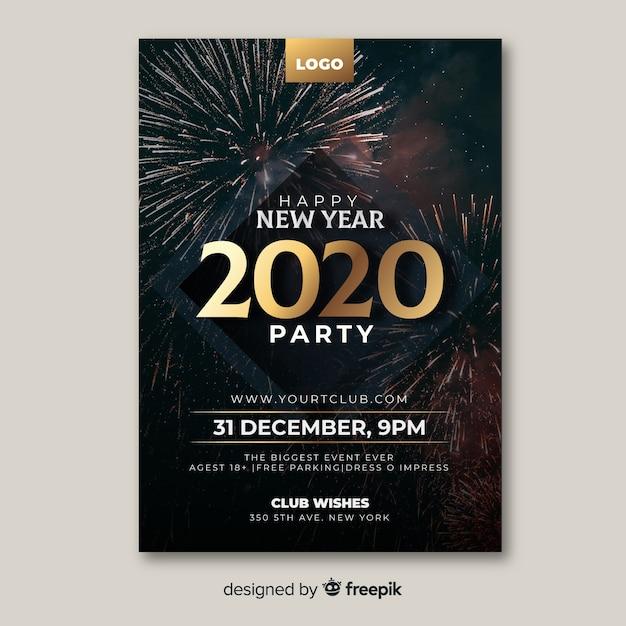 Modèle d'affiche de fête de nouvel an avec photo Vecteur gratuit