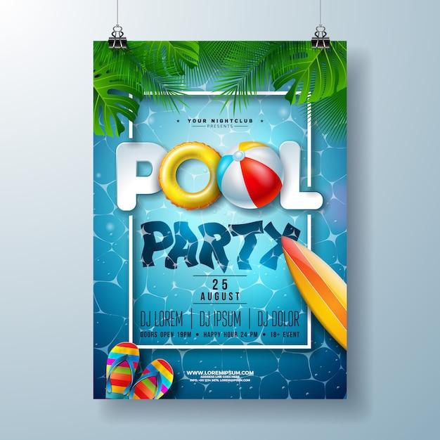 Modèle d'affiche fête piscine été avec feuilles de palmier et ballon de plage Vecteur Premium