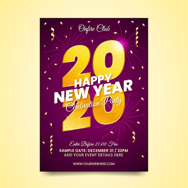 Modèle D'affiche De Fête Réaliste Nouvel An Vecteur gratuit
