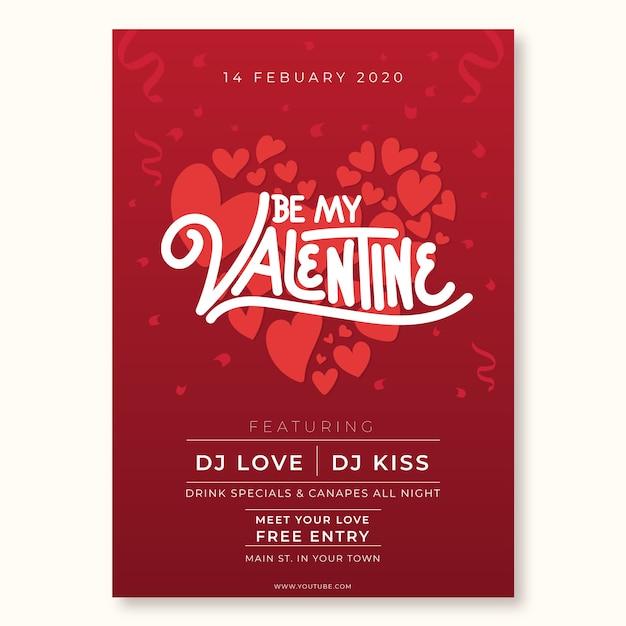 Modèle d'affiche de fête saint valentin dessiné à la main Vecteur gratuit