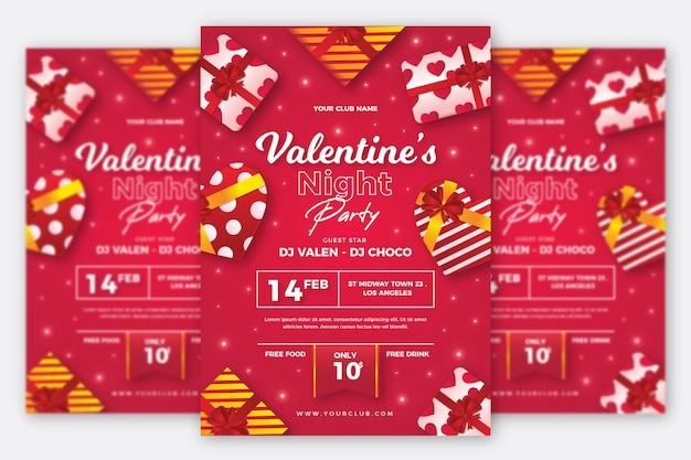Modèle D'affiche De Fête De La Saint-valentin Réaliste Vecteur gratuit