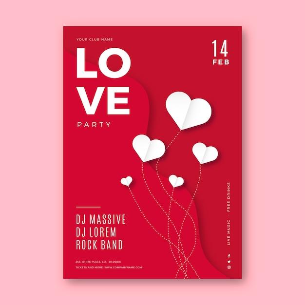 Modèle D'affiche De Fête De La Saint-valentin Vecteur gratuit