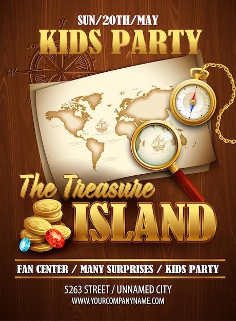 Modèle D'affiche De Fête Treasure Island Vecteur Premium