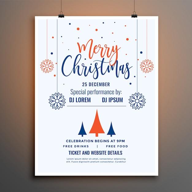 Modèle d'affiche de flyer fête joyeux noël blanc Vecteur gratuit