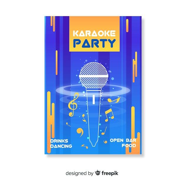 Modèle d'affiche ou de flyer de soirée karaoké Vecteur gratuit