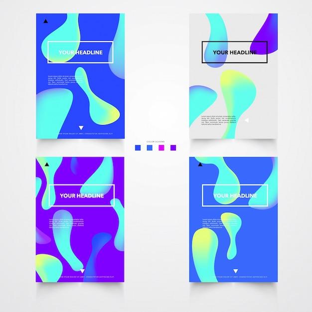 Modèle d'affiche de formes brillantes en plastique Vecteur gratuit