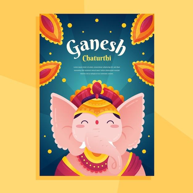 Modèle D'affiche Ganesh Chaturthi Vecteur gratuit