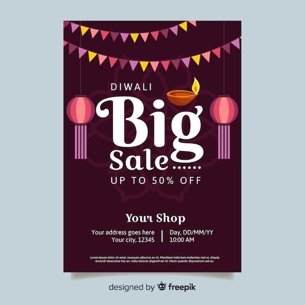 Modèle d'affiche de grande vente diwali Vecteur gratuit