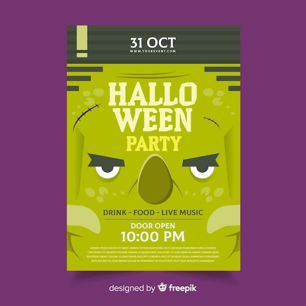 Modèle d'affiche halloween monstre vert grincheux Vecteur gratuit