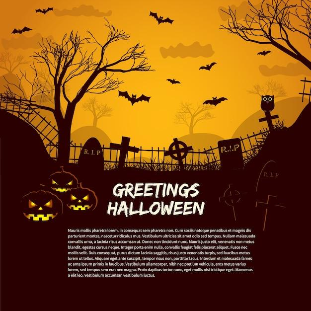 Modèle D'affiche Halloween Avec Des Pierres Tombales De Cimetière à La Lueur Dans Le Ciel Nocturne Et Texte De Salutations Plat Vecteur gratuit