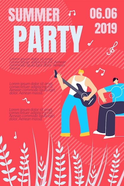 Modèle d'affiche illustration summer party Vecteur Premium
