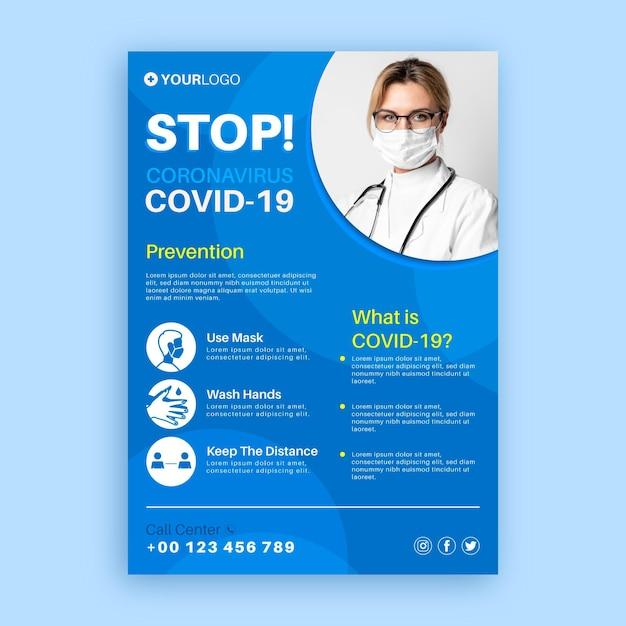 Modèle D'affiche Informatif Sur Le Coronavirus Vecteur gratuit