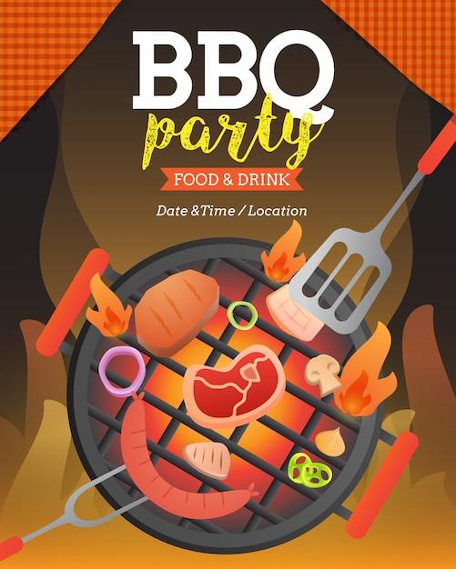 Modèle d'affiche invitation bbq party avec illustration de style plat de vecteur de flyer grill et nourriture. Vecteur Premium