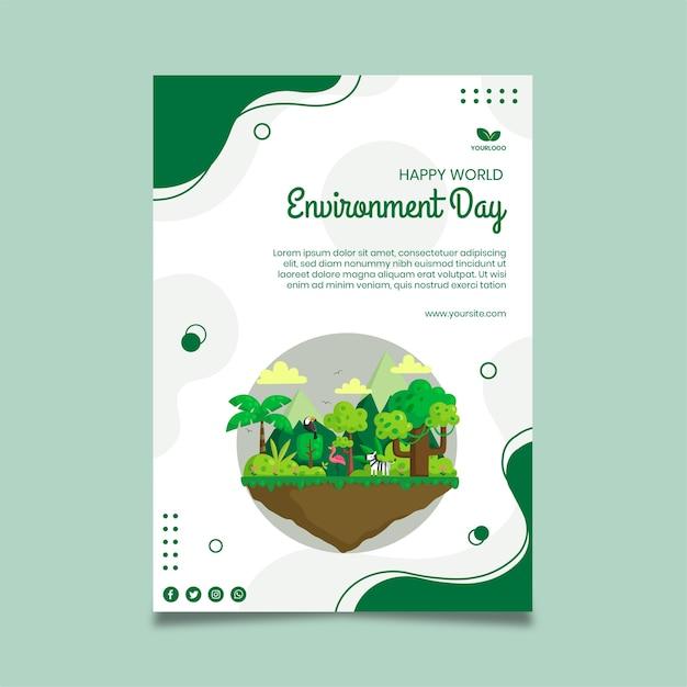 Modèle D'affiche De La Journée De L'environnement Vecteur gratuit