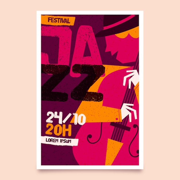 Modèle D'affiche De La Journée Internationale Du Jazz Dessiné à La Main Vecteur gratuit
