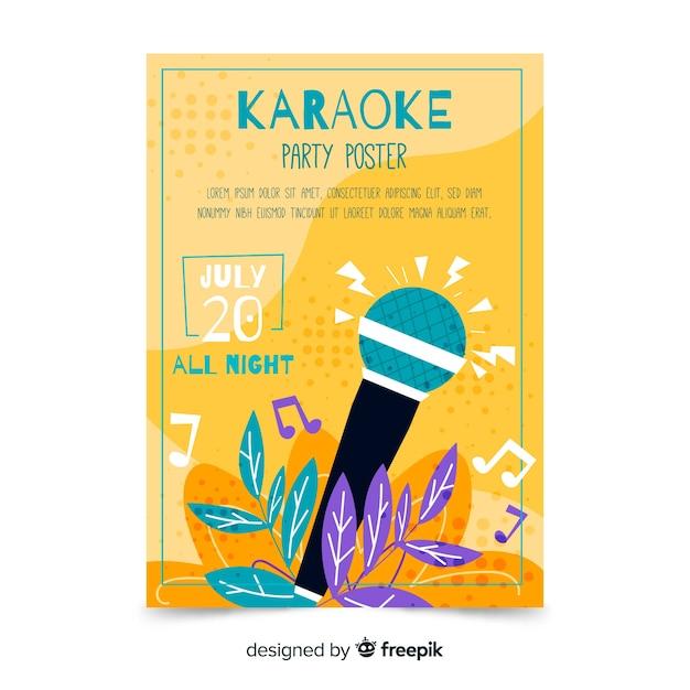 Modèle d'affiche karaoké dessiné à la main Vecteur gratuit